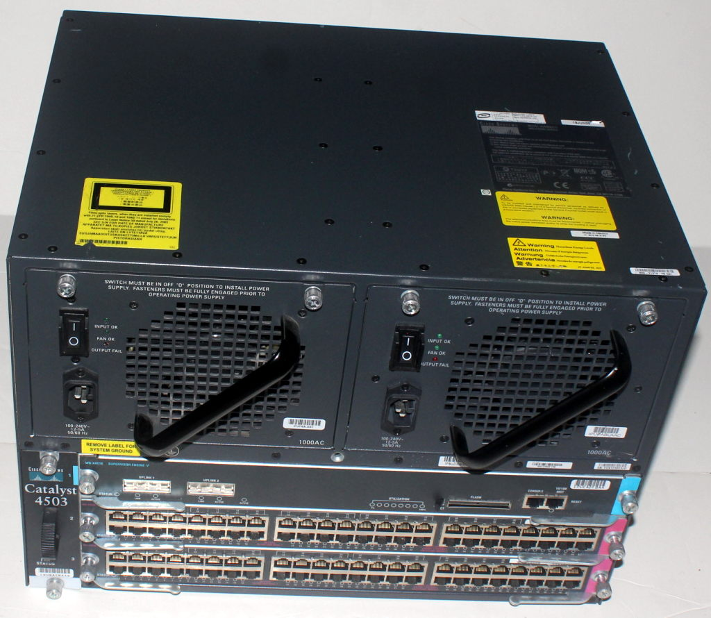 Details about Cisco WS-C4503 with WS-X4016 2x WS-X4448-GB-RJ45 2x  PWR-C45-1000AC 4xAvail
